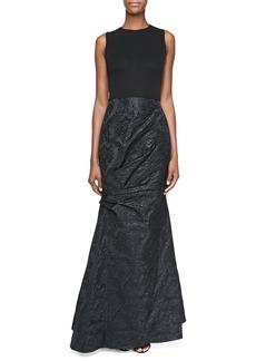 David Meister Sleeveless Damask Gown, Black