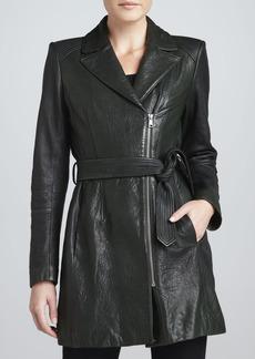 Andrew Marc Sophie Tie-Waist Leather Jacket