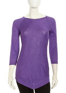 Lafayette 148 New York Linen Peak-Front Sweater, Delphinium