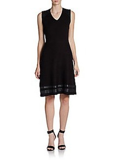 Calvin Klein Faux Leather-Trimmed Knit Dress