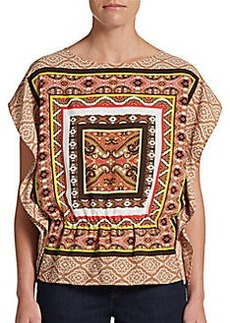 Ellen Tracy Paisley and Border Print Top