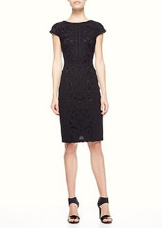 Etro Lace-Applique Cap-Sleeve Dress, Black