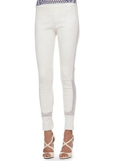 Roberto Cavalli Lace-Trim Leather Leggings, Milk