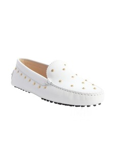 Tod's white leather studded moc toe loafers