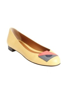 Fendi maize yellow leather stitched accent ballet flats