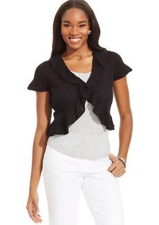 Style&co. Short-Sleeve Flyaway-Hem Cropped Cardigan
