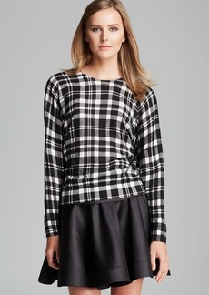 DKNY Catriona Plaid Dolman Sleeve Sweater