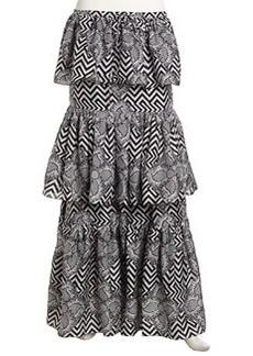L.A.M.B. Mixed Print Tiered Chiffon Maxi Skirt, Black/Ivory