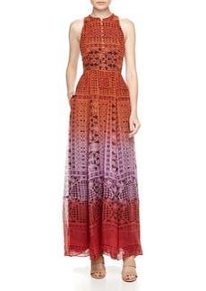 Diane von Furstenberg Dip Dyed Mixed Print Maxi Dress, Orange/Purple/Red