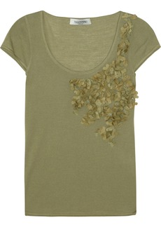 Valentino Floral-appliquéd wool-blend top