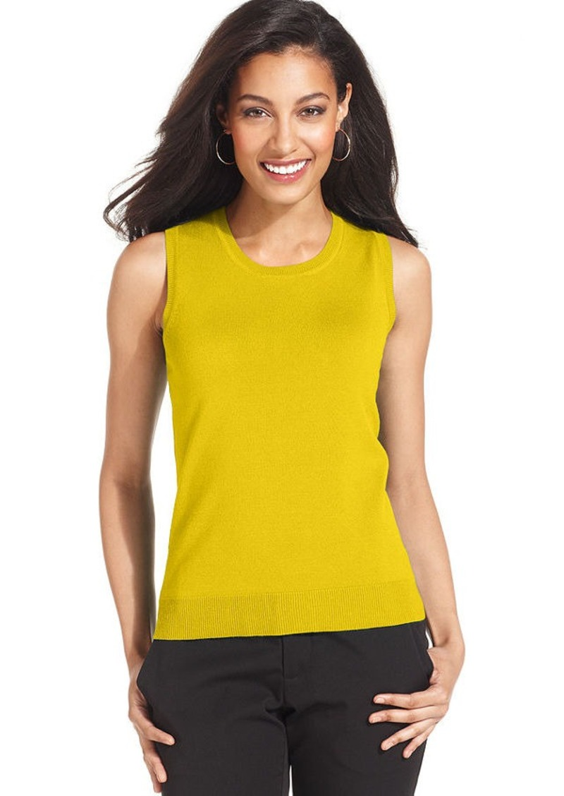 Charter Club Petite Sweater, Sleeveless Shell Scoop-Neck