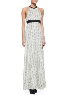 Cora Maxi Print Dress With Leather-Trim   Cora Maxi Print Dress With Leather-Trim