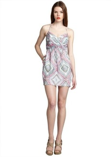 Shoshanna white and pink paisley print silk 'Mia' spaghetti strap day dress