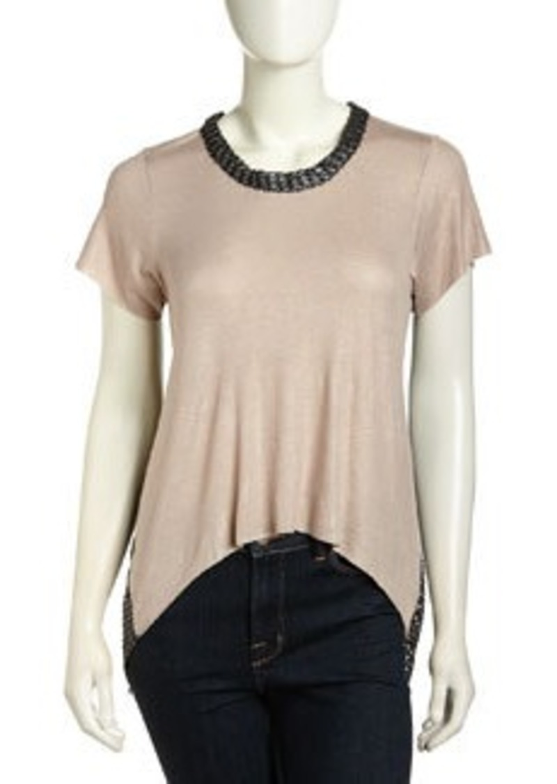 T Bags High-Low Mesh-Back Shimmer Top, Mocha Foil