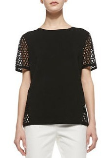Lafayette 148 New York Short-Sleeve Sweater with Eyelet Detail