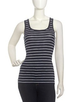 French Connection Striped Scoop-Neck Tank, Nocturnal/White