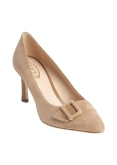 Tod's light tobacco suede buckle detail pointed toe pumps