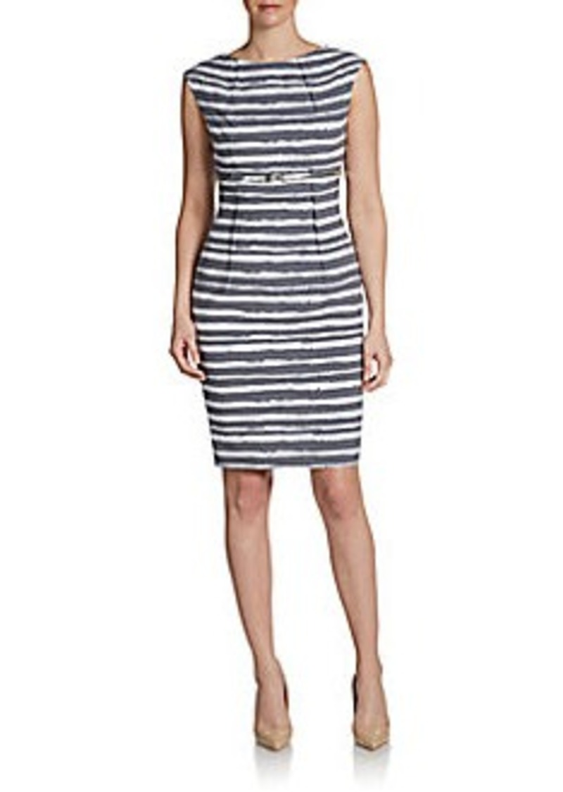 Calvin Klein Cap-Sleeve Striped Belted Sheath Dress