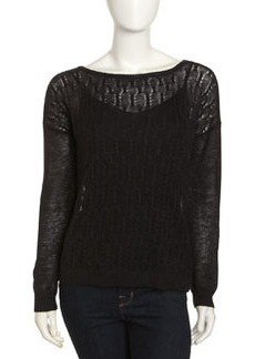Joie Morie Cable-Knit Linen Sweater, Caviar