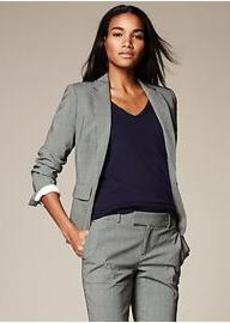 Black Check Lightweight Wool One-Button Blazer