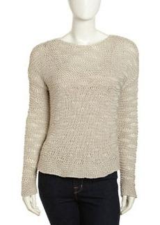 Paper Denim & Cloth Pullover Open Knit Sweater, White