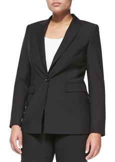 Escada One-Button Crepe Blazer, Black, Women's