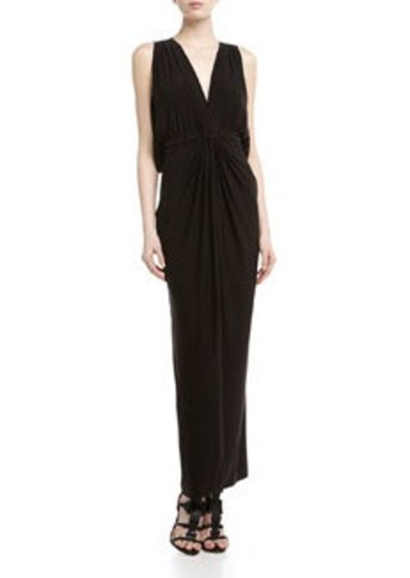 T Bags Knotted Draped Back Maxi Dress, Black