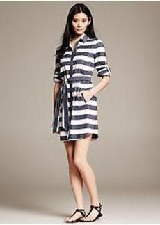 Bold Stripe Cotton/Linen Shirtdress