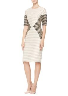 Lela Rose Striped Peaked-Panel Dress