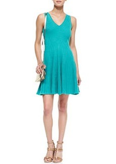 Rib Stretch Sleeveless Fit-and-Flare Dress   Rib Stretch Sleeveless Fit-and-Flare Dress
