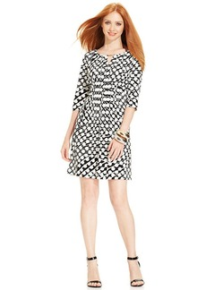 Tahari by ASL Graphic-Print Keyhole Dress