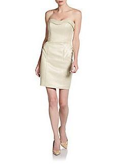 ABS Strapless Metallic Sweetheart Dress