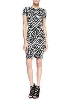 T Bags Short-Sleeve Diamond-Print Cutout Dress, Black/White