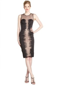 French Connection black beaded mesh 'Fast Primal' sleeveless party dress