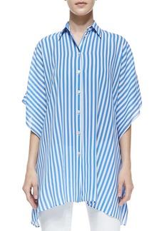 Michael Kors Striped Kimono Blouse, Sea/White