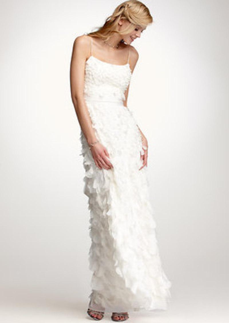Ann taylor rose petal spaghetti strap wedding dress for Ann taylor dresses wedding