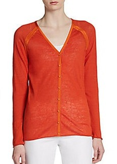Lafayette 148 New York Colorblock V-Neck Cardigan