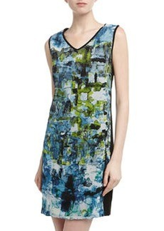 Isda & Co Sleeveless Watercolor Palette Print Dress, Blue/Green/Black