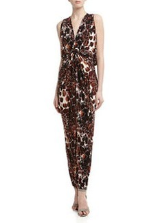 T Bags Knotted Draped Back Giraffe Print Maxi Dress