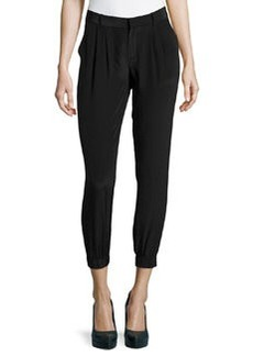 Joie Slouchy Cropped Silk Pants, Caviar