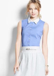 Petite Sleeveless Button Down Shirt