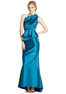 Carmen Marc Valvo peacock one shoulder ruffle dress