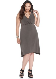 Alfani Plus Size Surplice-Neck Sleeveless Dress
