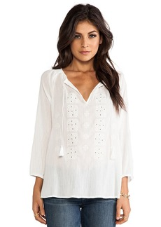 Joie Millian Ethnic Embroidered Blouse in White
