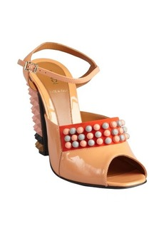 Fendi Patent leather spiked stacked heel sandals