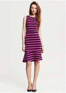 Fuchsia Stripe Ponte Flounce Dress