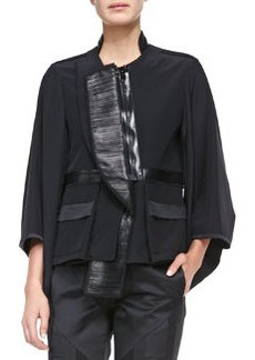 Fan-Lapel Silk Zip Jacket   Fan-Lapel Silk Zip Jacket