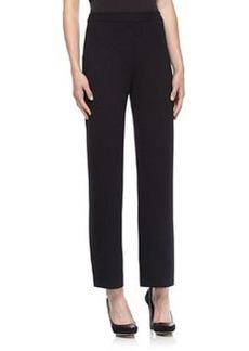St. John Santana Knit Stove-Cut Pull-On Pants, Onyx