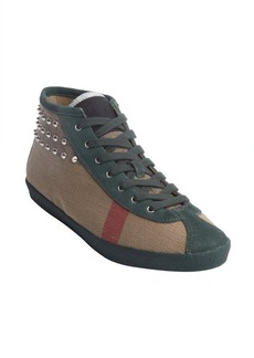 Burberry nova check canvas and green suede silver stud high top sneakers