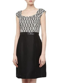 Kay Unger New York Leaf-Pattern Fit-And-Flare Dress, Black/White